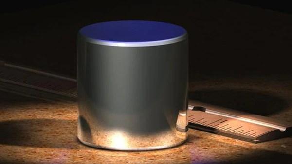 Prototipo de un cilindro de iridio y platino usado para definir un kilogramo