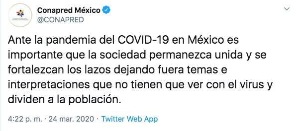 El CONAPRED señaló que, ante la pandemia por COVID-19, es momento de llamar a la unidad social y a la no discriminación (Foto: Twitter)