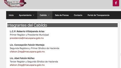 Captura de pantalla del sitio web del Ayuntamiento de Macuspana