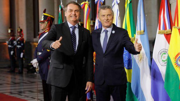 Jair Bolsonaro y Mauricio Macri durante la cumbre del Mercosur en Santa Fe