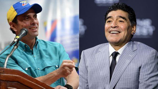 Henrique Capriles, líder opositor de Venezuela, y Diego Maradona, ex futbolista argentino