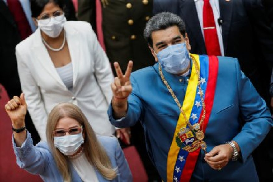 Maduro and his wife, Cilia Flores, arriving at the National Assembly building for the annual speech on the state of the nation on January 12, 2021. REUTERS / Manaure Quintero