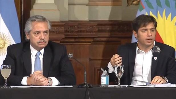El presidente Alberto Fernández y el gobernador bonaerense, Axel Kicillof