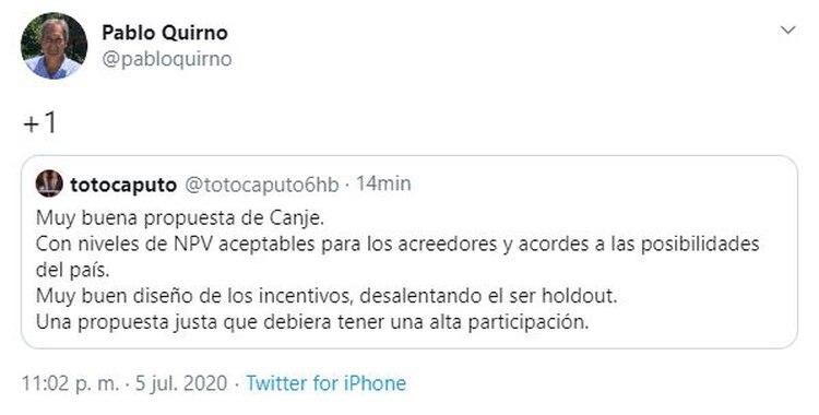 Tuit escrito posteado por el expresidente del Banco Central, Luis Toto Caputo, y retuiteado por el exdirector del BCRA, Pablo Quirno
