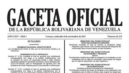 """Gaceta de la """"ley contra el odio"""" en Venezuela"""