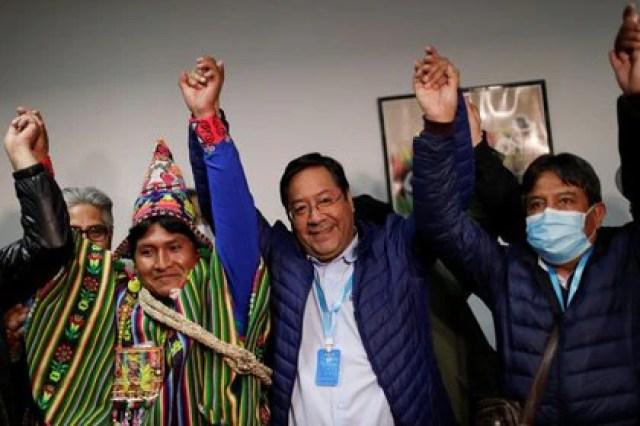 Luis Arce celebró la noche del domingo los resultados (Reuters)