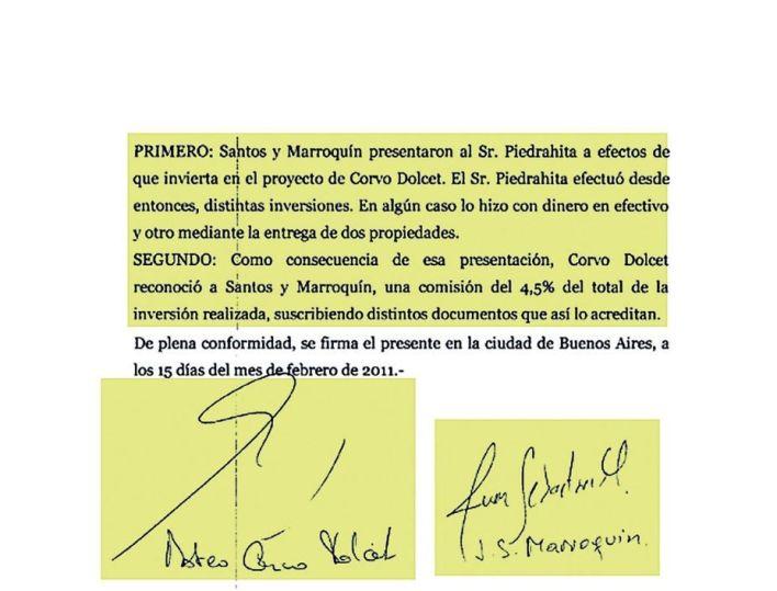 El documento obtenido en el allanamiento a Corvo Dolcet, donde aparecen los nombres de Isabel Santos y Juan Marroquín.