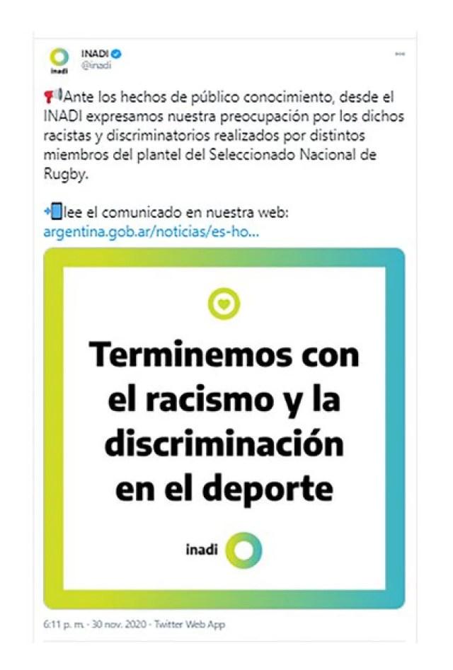 Desde el INADI llaman la atención con respecto a prácticas racistas, clasistas y discriminatorias que anidan en muchas instituciones deportivas.