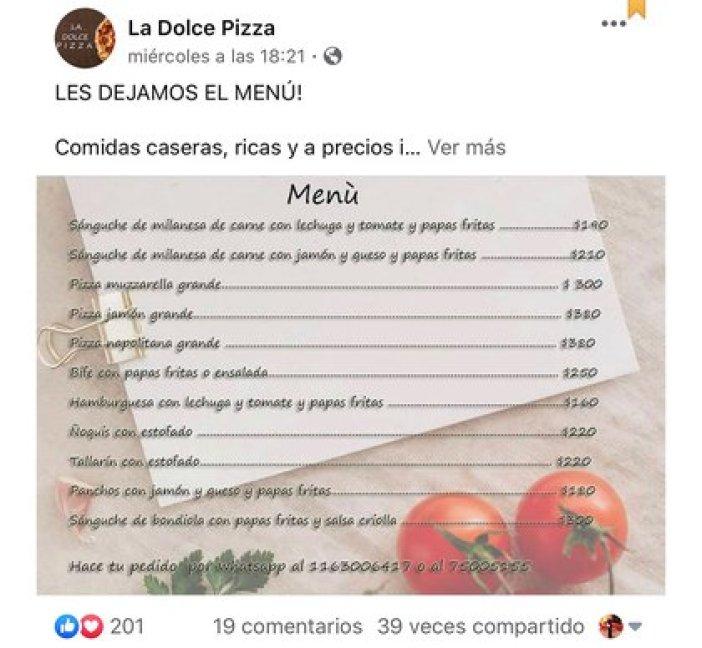 El menú que publicó otra persona que colaboró con Juan y le armó la cuenta de su pizzería en Instagram
