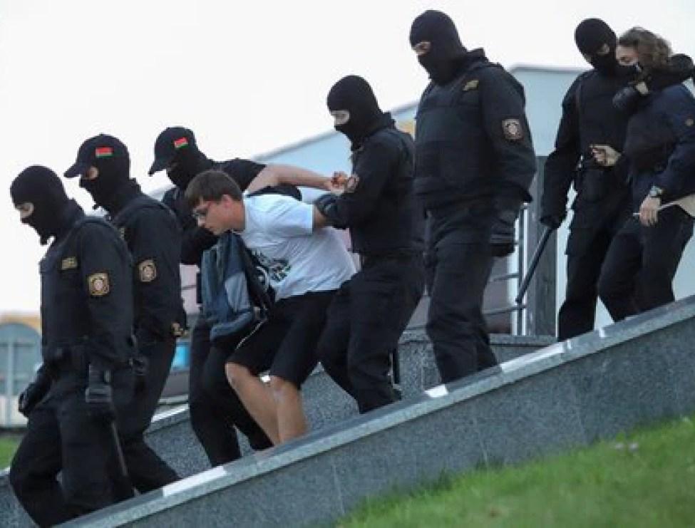 A protester arrested in Minsk (REUTERS / Stringer)