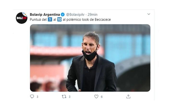 Sebastián Beccacece en Racing-Nacional meme look