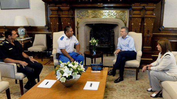 El día en que el ex presidente Mauricio Macri recibió al policía local Luis Chocobar junto a la ex ministra Patricia Bullrich.