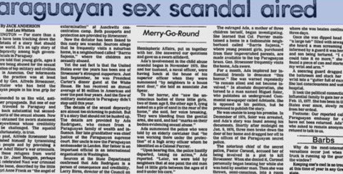 La nota del Washington Post del 20 de diciembre de 1977, firmada por los periodistas Jack Anderson y Les Whitten, que por primera vez reveló los abusos a menores de Stroessner y sus jerarcas