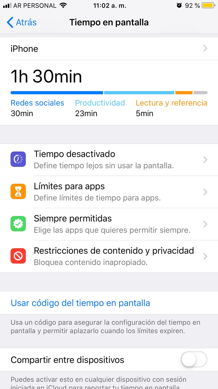 Tiempo en pantalla permite saber cuánto tiempo pasa el usuario en las diferentes aplicaciones.