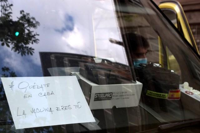 El mensaje en una ambulancia del hispital La Princesa en Madrid (Reuters)