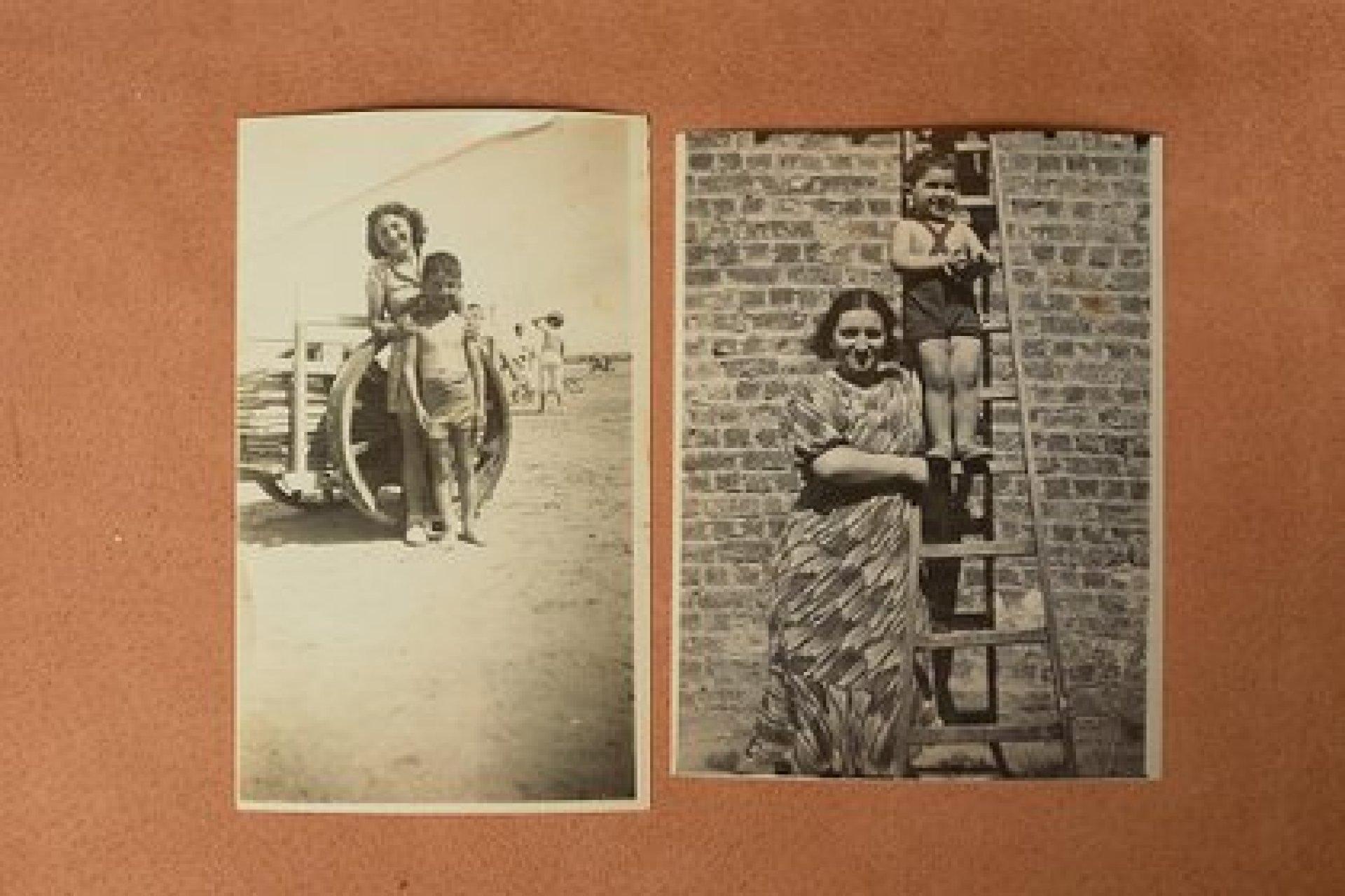 Fotografías de Gronowski con su hermana, Ita, a la izquierda, y su madre, a la derecha