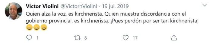 Violini publicó este mensaje unos días después de que Cristina Kirchner compartiera una entrevista suya