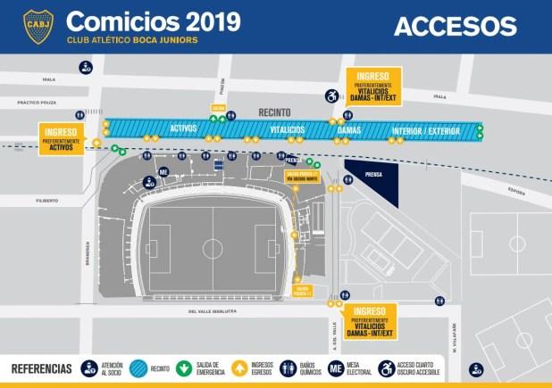 El mapa de acceso para las elecciones en Boca