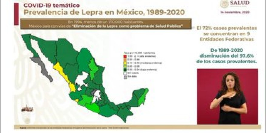Entities with cases of leprosy in Mexico (Photo: SSa)