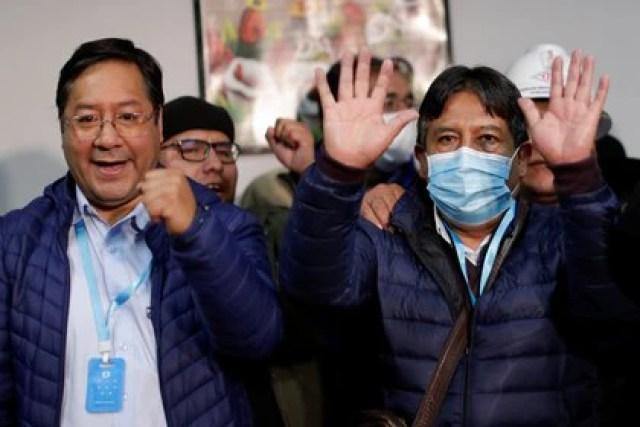 Luis Arce y David Choquehuanca celebran su victoria