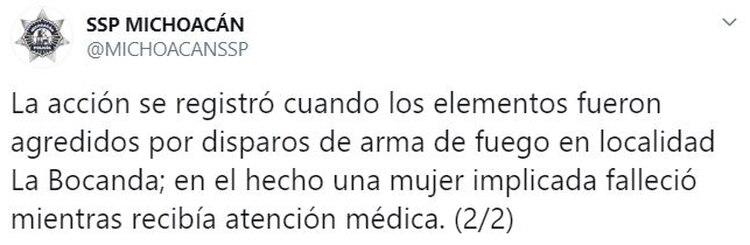 La SSP de Michoacán dio aviso sobre la muerte de una mujer a quien más tarde se le identificó como líder del CJNG en Michoacán (Foto: Twitter/MichoacanSSSP)