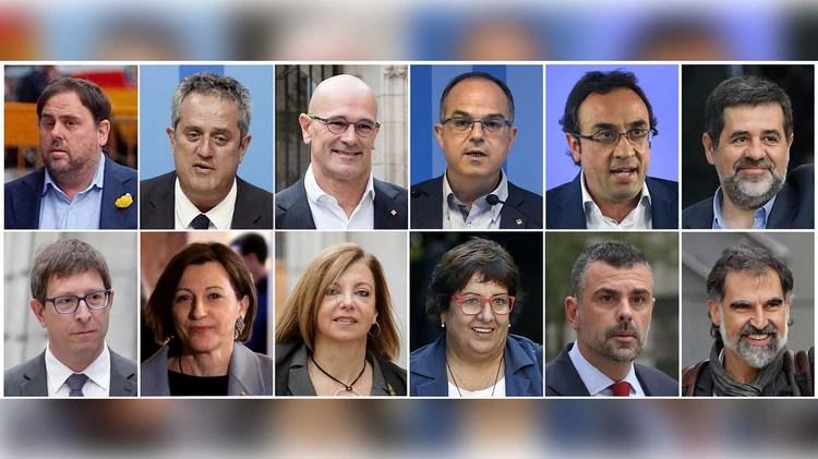 Los 12 condenados por las iniciativas secesionistas (AFP)