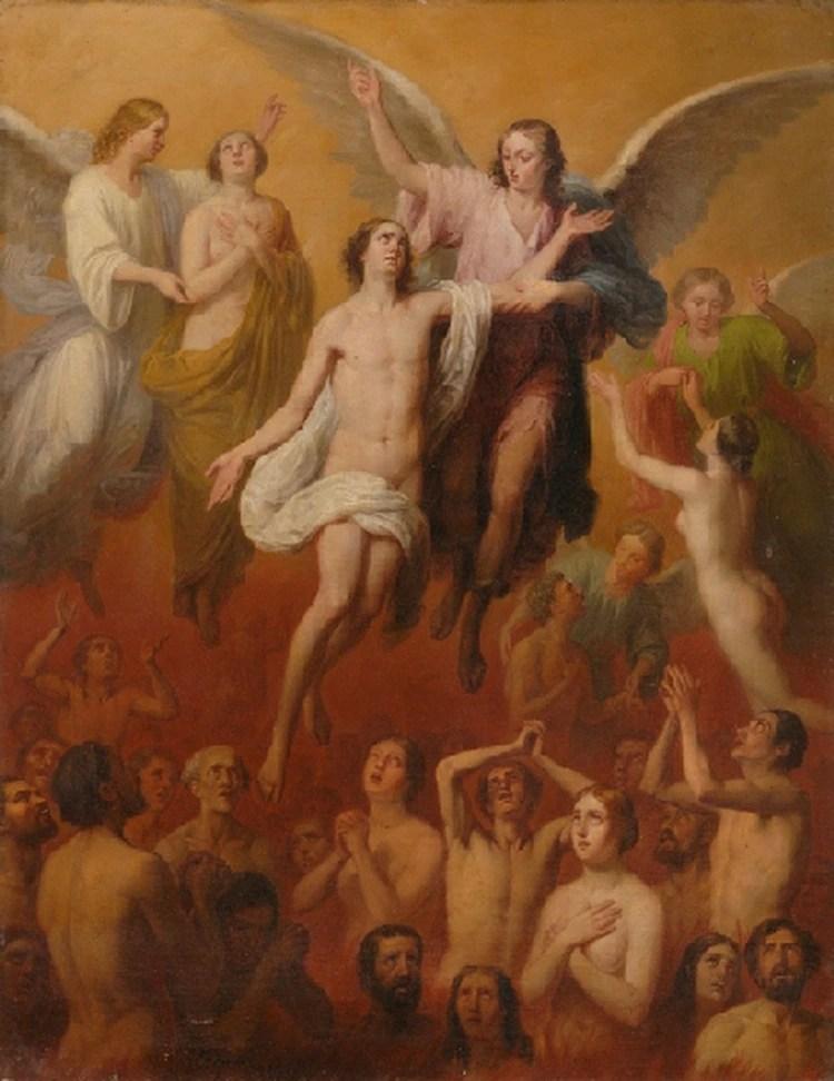 Pintura: Ánimas del purgatorio de Antonio María Esquivel