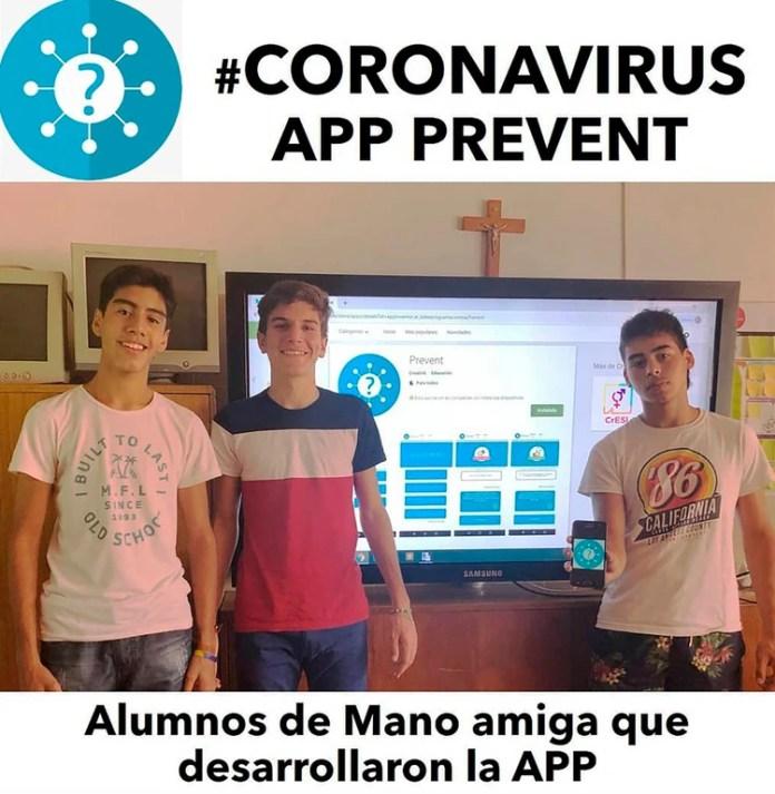 Estudiantes de la escuela secundaria Mano Amiga, de Pilar, desarrollaron un app con infomación del Coronavirus