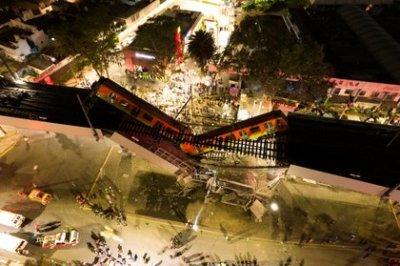 Impresionante vista aérea de cómo quedó el tramo colapsado en la estación Olivos de la Línea 12 del metro de CDMX (INSTAGRAM @CSDRONES/via REUTERS)