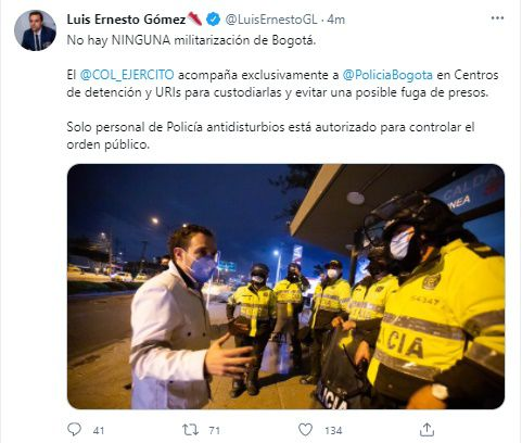 """""""Bogotá no se encuentra militarizada"""" anuncia secretario de Gobierno de la ciudad"""