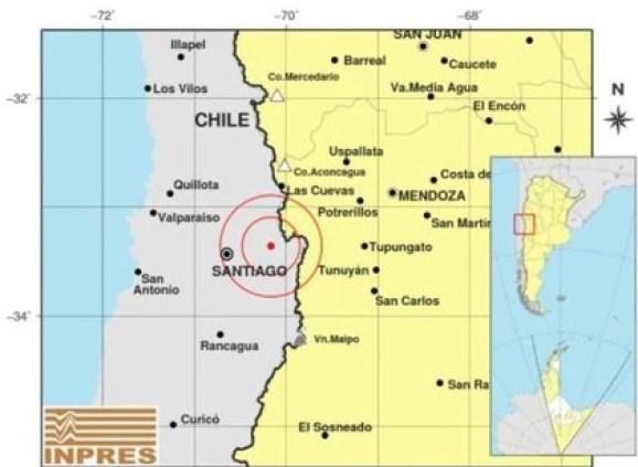 Ubicación del sismo registrado en la ciudad de Santiago de Chile