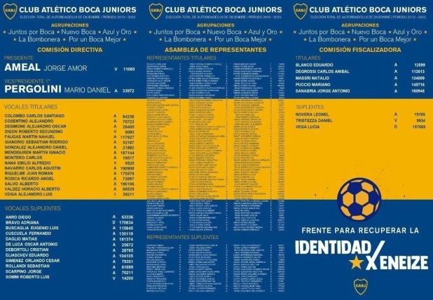 La boleta reformulada de la lista de Ameal: cambiaron la imagen de Riquelme por una pelota
