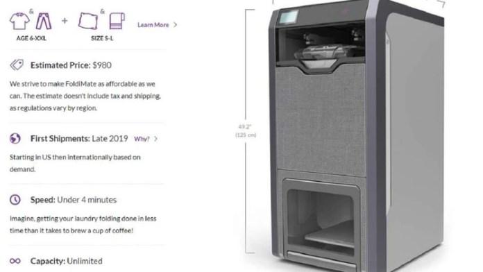 El gran tamaño del robot equivale al de un refrigerador familiar (Foto: Web FoldiMate)