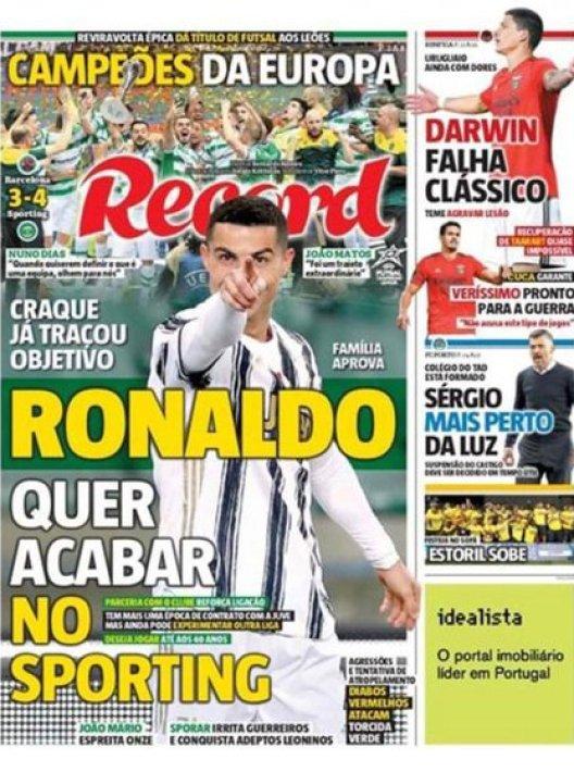 """""""Cristiano Ronaldo quiere terminar en el Sporting"""", publicó el diario Récord"""