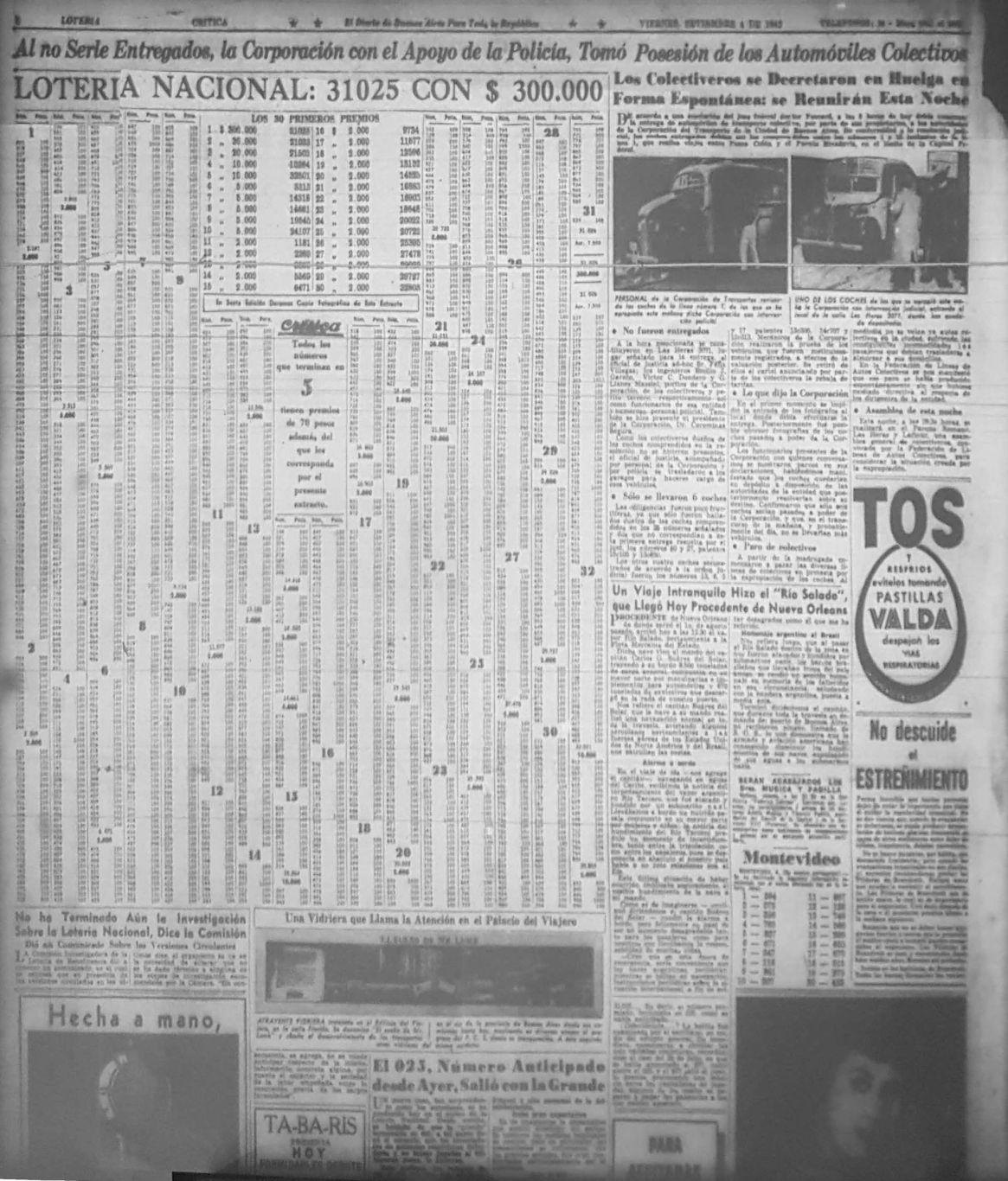 El anuncio de la jugada ganadora del 4 de septiembre de 1942 (Archivo General de la Nación)