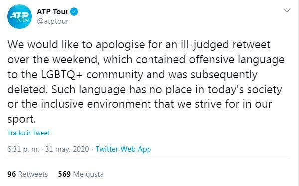 Captura Tuit ATP pide perdon