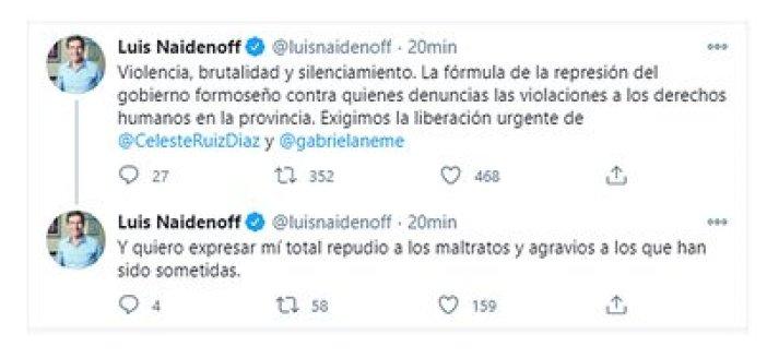 El mensaje del senador Naidenoff (Twitter)