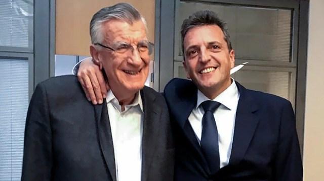 José Luis Gioja, presidente del PJ, junto con Sergio Massa en la previa al anuncio de reconciliación Foto NA