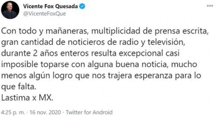 Fox's recent criticism of López Obrador