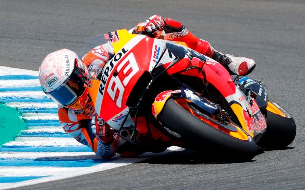 Márquez sufrió una dura caída en el Gran Premio de España (EFE)