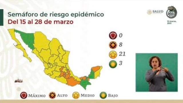 Semáforo de riesgo epidémico por estados (Foto: SSA)