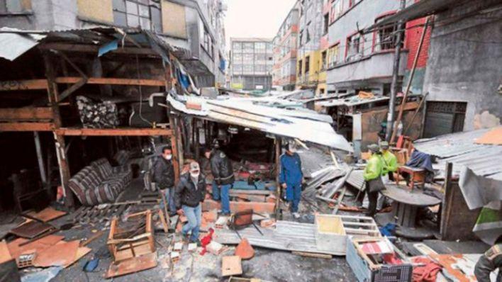 """Aspecto de una de las calles de """"La L"""" durante el operativo de intervención policial para su desalojo."""