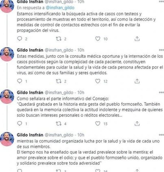 El mensaje de Gildo Insfrán tras la denuncia por la situación en el Estadio Cincuentenario (Twitter)