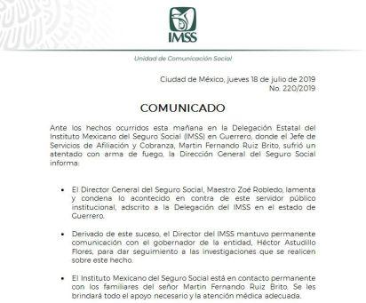 El comunicado del IMSS sobre los hechos ocurridos ayer en las inmediaciones de la institución (Twitter @Tu_IMSS)
