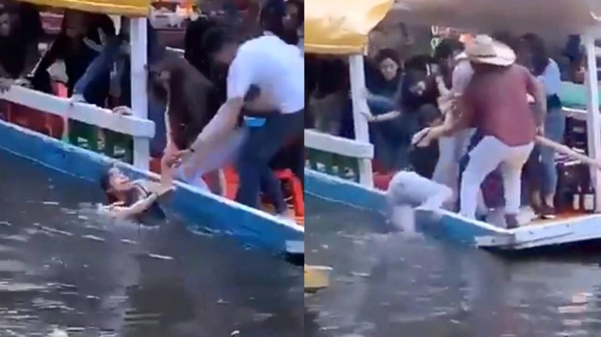 Una mujer fue rescatada del canal de Xochimilco (Foto: Captura de pantalla)