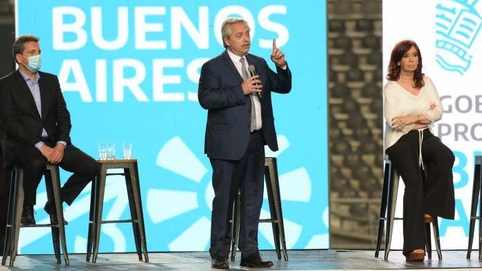 Alberto Fernández y Cristina Kirchner comparten un acto en La Plata junto a Axel Kicillof y Sergio Massa