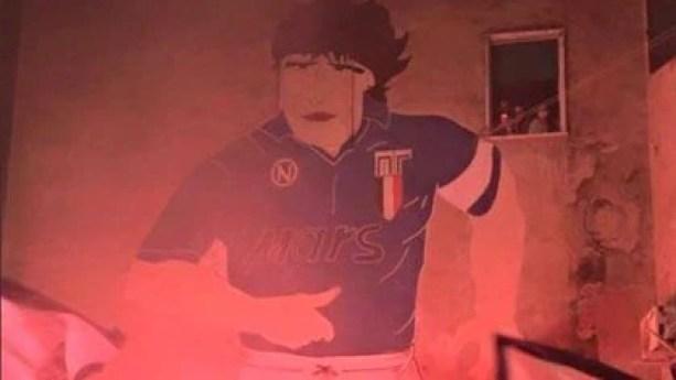 Un mural de Maradona en Napoli