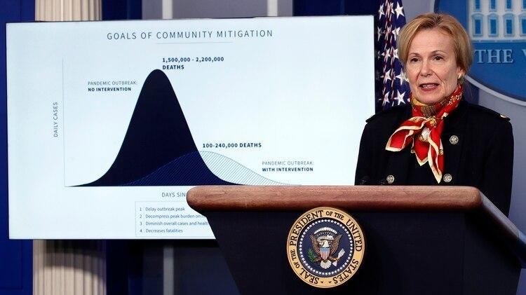 La doctora Deborah Birx, coordinadora de la respuesta de la Casa Blanca al coronavirus, con el gráfico con los estimativos de fondo. Foto: AP Photo/Alex Brandon
