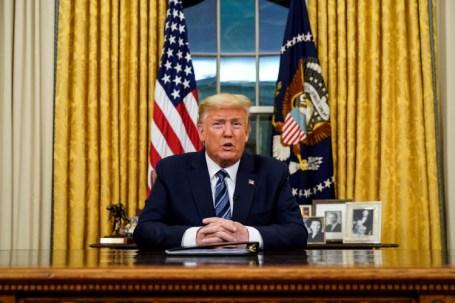 Donald Trump, presidente de Estados Unidos, hablando desde la Casa Blanca (Doug Mills/Pool via REUTERS)