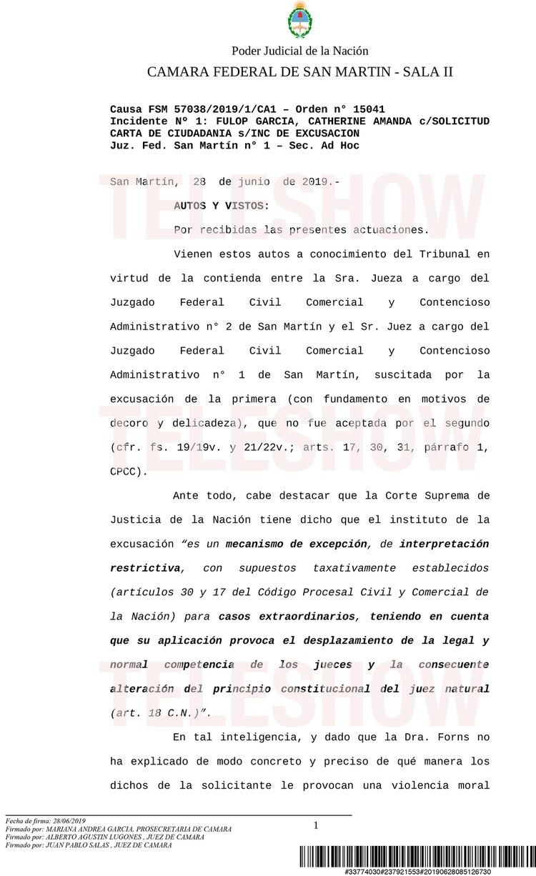 Primera parte de la resolución de la Cámara Federal de San Martín